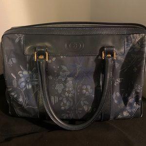 GUCCI Vintage Boston Bag Blue Flora Japan